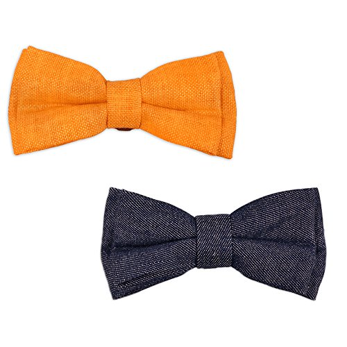 Bow & Arrow Pet Dog Collar Accessories, Two Dog Collar Bow Ties, Slide On Attachment, Orange and Blue ()