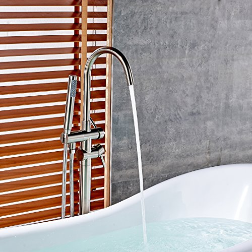Fapully Luxury Bathroom Free-standing Bathtub Faucet Tub Filler with Hand Shower Brushed Nickel by Fapully (Image #3)
