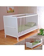 Baby Kinderbed met Aloë Vera-schuimstofmatras, in hoogte verstelbaar, wit, ombouwbaar tot juniorbed