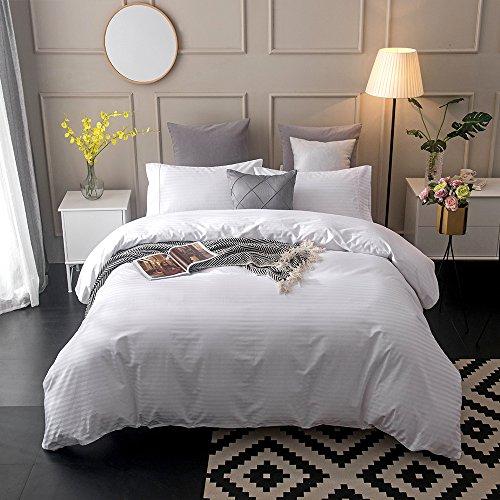 Merryfeel Classic 300 Thread Count Cotton Sateen Jacqaurd Stripe Duvet Cover Set. (King,White)-5-Star Hotel Quality