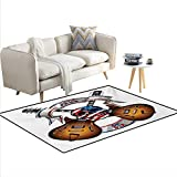 Best Lionel Kids Electric - Rug,Crossed Electric Guitars with Skull American Flag Live Review