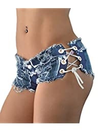 Oncefirst Sexy Women Denim Jeans Shorts Short Hot Pants Low Waist Side Strapss