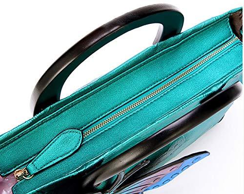 Yyddt Blue Hombro Mariposa Desmontable Cuero Bolsa Bolso Impresión Retro Mano Ajustable 3d Pu Correa Mujer De Personalidad Crossbody ATAFr