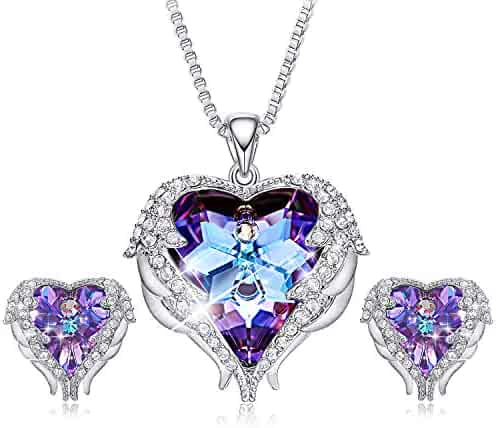 60bcbd2e5 CDE Angel Wing Swarovski Jewelry Set Women Jewelry 18K White Gold Plated  Crystals Pendant Necklace Earrings