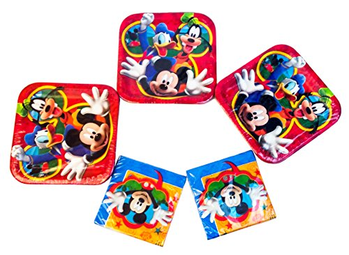Mickey Mouse Disney Clubhouse Playtime Square Dinner Plates (24 Plates) and 32 Luncheon Napkins. Party Pack.