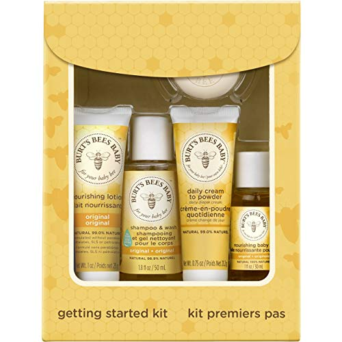 (Burt's Bees Baby Getting Started Gift Set, 5 Trial Size Baby Skin Care Products - Lotion, Shampoo & Wash, Daily Cream-to-Powder, Baby Oil and Soap)