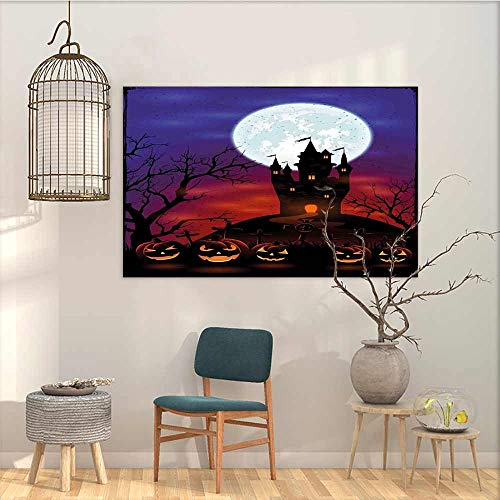 Abstract Oil Paintings Sticker Halloween Gothic Haunted House Castle Hill Valley Night Sky October Festival Theme Print Office Art Decoration Multicolor W47 -