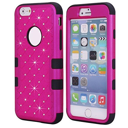 Cuitan 3 in 1 Funda Case para Apple iPhone 6 plus / 6s plus (5.5 Inch), Suave Silicona Inner Caso y PC Difícil Frente Back Cover con Bling Diamante Brillante Rhinestones Completa Protector Case Cover  Rose Rojo + Negro