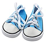 Canvas Lace Up Sneakers Shoes For 18 Inch American Girl & Boy Dolls Cute 18' Doll accessories (Blue)