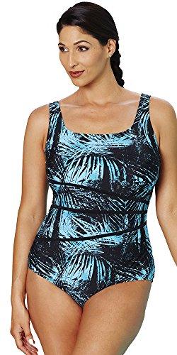 d949a35b9625a Aquabelle Women's Plus Size Chlorine Resistant Tank Swimsuit 18 Green