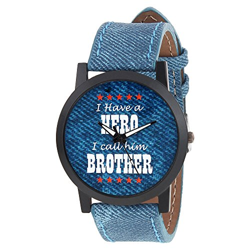 Relish Mens Boys Denim Slim Analog Display Quartz Watch for Brothers | RE S8103BD | Gift for Brother
