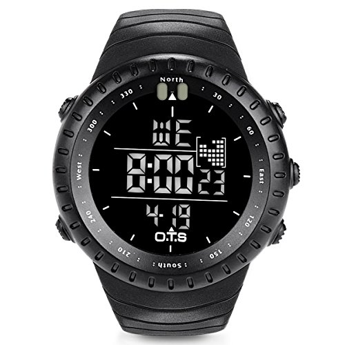 O.T.S Men's Outdoor Waterproof LED Digital Sports Watches Black