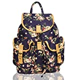 Whiteflower Canvas Floral Print Backpack (Navy)
