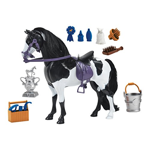 Blue Ribbon Champions Deluxe Painted Horse Toy Horse with Realistic Hair, Grooming Supllies, 14 Reaslitic Accessories and Articulated Horse Movements that Produce Realistic Horse Sounds when Engaged