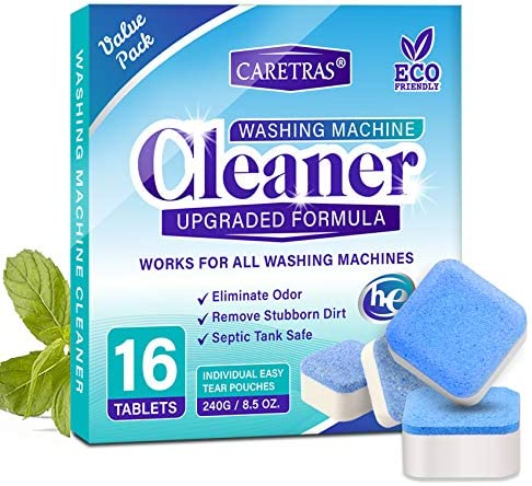 Caretras Upgraded Washing Machine Cleaner Effervescent Tablets, Solid Washer Deep Cleaning Tablet, Triple Decontamination with Natural Biological Formula, for All Machines together with HE, 16 Tablets