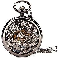Mens Mechanical Pocket Watch Phoenix & Dragon Hollow Case Skeleton Dial with Chain + Box (Black)
