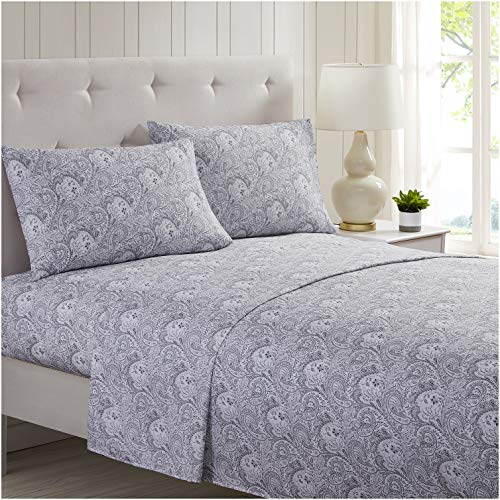 Mellanni Bed Sheet Set Brushed Microfiber 1800 Bedding - Wrinkle, Fade, Stain Resistant - 3 Piece (Twin, Paisley Gray)