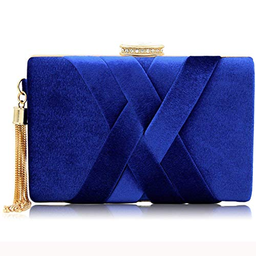 Blue Bags Velvet Evening River with Tassels Women's Metal Elegent Clutch Purses Mystic Crystal Royal wBOqxp