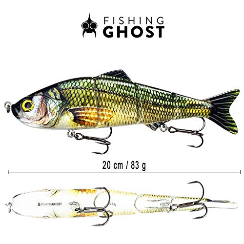 FISHINGGHOST XXL Musky Lures Swimmbait Candy, 2.9oz, 7.9in, Swimbait Lures/Musky Fishing Lures for Fishing for Predatory Fish Such as Musky, Catfish, Walleye an Cod (Hunter)