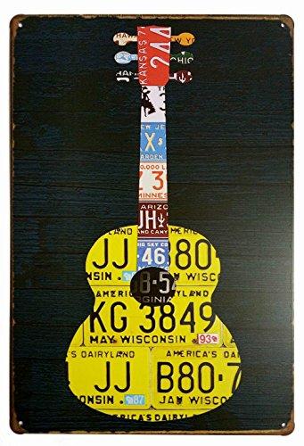 (ERLOOD Music Guitar Distressed Retro Vintage Tin Sign Pub Poster Metal 12x 8)
