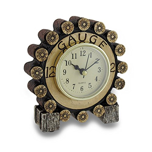 Table Clock with 12 Gauge Shotgun Shells, Gold