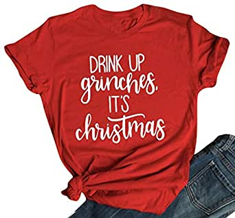 UNIQUEONE Drink UP Grinches It's Christmas T Shirt Women Christmas Short Sleeve Letter Print Funny Tee - Orange - Small