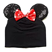 Disney Minnie Mouse Baby Infant Hat Beanie with Red Dotted Bow & Sequined Ears