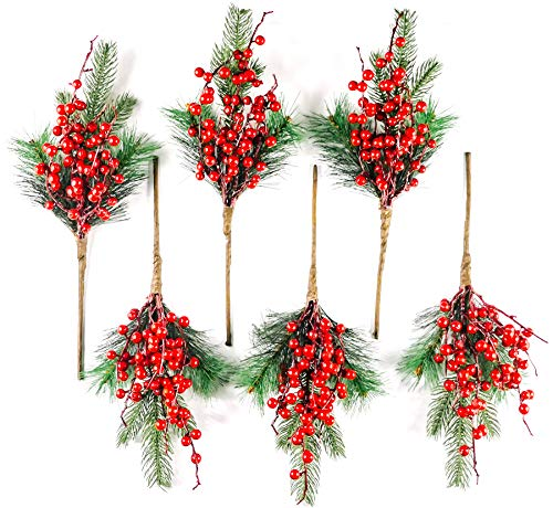 CraftMore Red Berry and Pine Pick 16 Set of 6