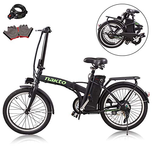 "Nakto 20"" 250W Foldaway Electric Bike Sport Mountain Bicycle with Lithium Battery"