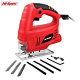 Hi-Spec Heavy Duty 3A Compact Electric Jigsaw with Large Trigger Switch & Speed Lock-On, Splinter Safety Guard, Dust Extraction Port & 6 Piece Mixed Blade Set for Metal and Wood Power Jig Saw Set