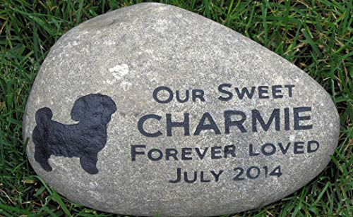 Personalized Dog Memorial Garden Stone. Large Riverstone Memorial, Dog Stone Memorial, Pet Loss, Sympathy Gifts, All Dog Breeds Available 11-12 Memorial Stone Pet Grave Marker