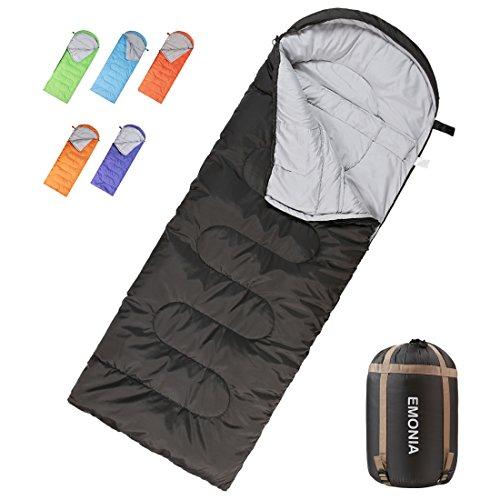 Black Kids Sleeping Bag - Emonia Camping Sleeping Bag,Three season.Waterproof Outdoor Hiking Backpacking Sleeping Bag Perfect for 20 Degree Traveling,Lightweight Portable Envelope Sleeping Bags for Adults,Kids,Girls and Boys