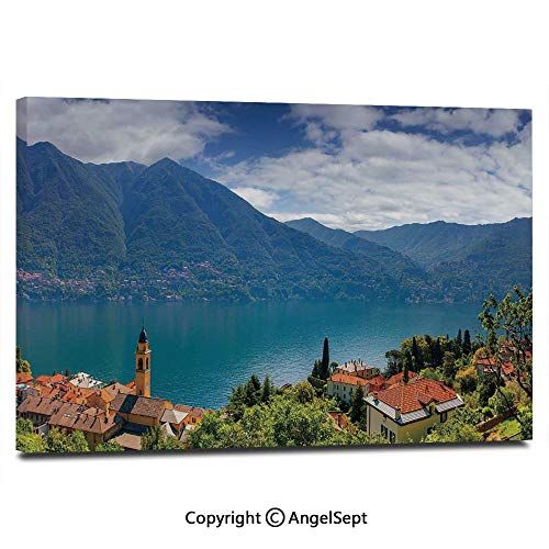Modern Salon Theme Mural Mountain Village on The Hills Como Lake Italian Town European Mediterranean Scenery Painting Canvas Wall Art for Home Decor 24x36inches, Multicolor