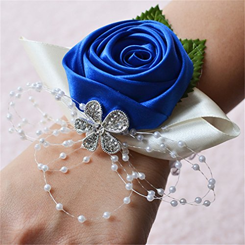 (Prettybuy 2pcs Package Wedding Prom Party Satin Rose Wrist Corsage Flower w/Pearl Rhinestone Fabric Leaves Ornament Wirstband (Royal Blue))