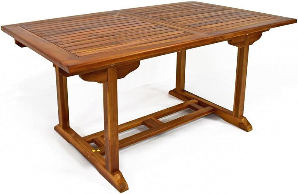 Mesa extensible de madera de teca de 150 x 90 cm