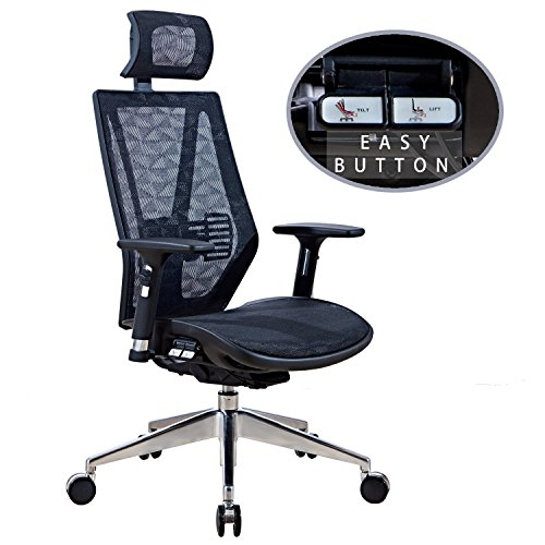 LSCING Ergonomic High Back Mesh Executive Chair Unique Design with Easy Button, Black by LSCING