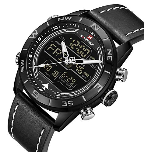 Genuine Leather Band Analog Digital LED Dual Time Display Outdoor Sport Watch Mens Watch Black ()
