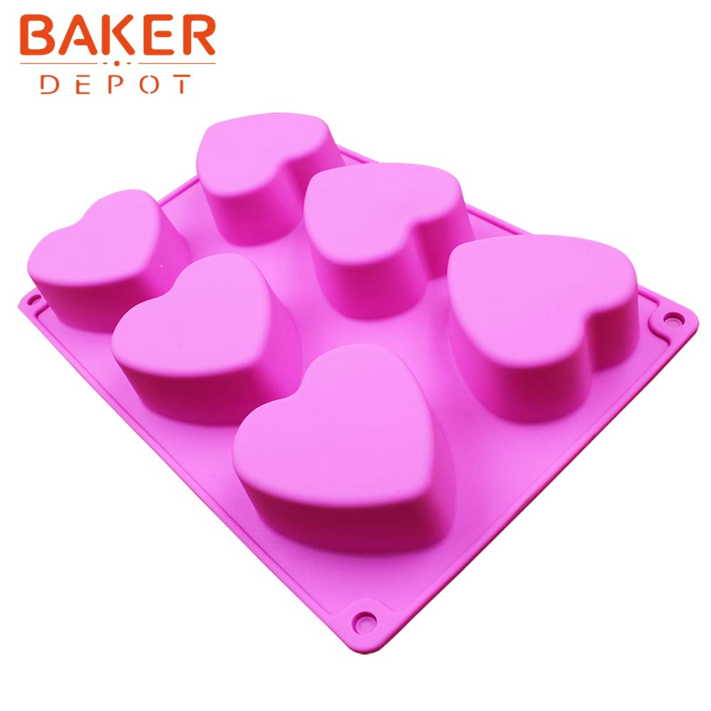 Cake Pudding Jelly Set of 2 BAKER DEPOT 6 Holes Heart Shaped Silicone Mold for Chocolate Handmade Soap