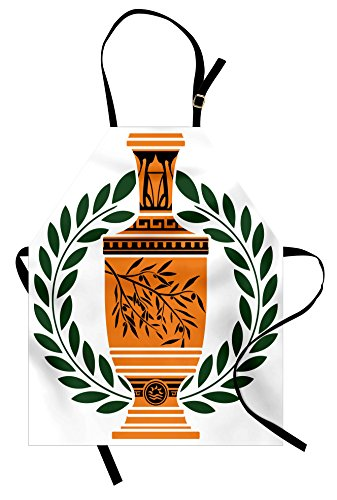 Ambesonne Toga Party Apron, Old Antique Greek Vase with Olive Branch Motif and Laurel Wreath, Unisex Kitchen Bib Apron with Adjustable Neck for Cooking Baking Gardening, Green -