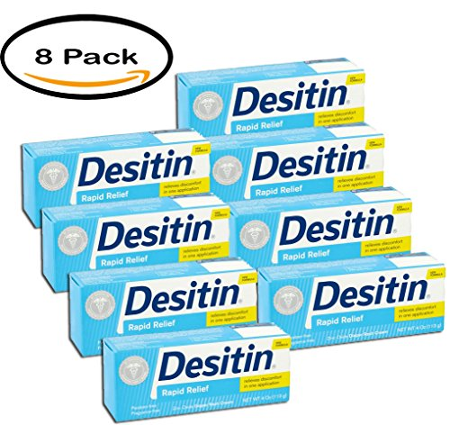 PACK OF 8 - Desitin Rapid Relief Diaper Rash Remedy Cream, 4 Oz. Tube by Desitin