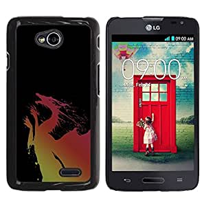Be Good Phone Accessory // Dura Cáscara cubierta Protectora Caso Carcasa Funda de Protección para LG Optimus L70 / LS620 / D325 / MS323 // Dragon Yellow Pink Flying Fairytale Drawing