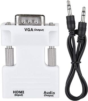 Adaptador VGA a HDMI, Convertidor HDMI a VGA, Adaptador de cable de audio y video hembra 1080P VGA macho a HDMI, Plug and Play, para computadora, computadora portátil, proyector, monitor, HDTV: Amazon.es: