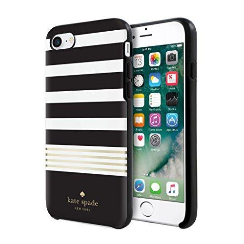 考古学的なむしゃむしゃ利益Kate Spade New York iPhone 7 Black White Gold Foil Stripe Phone Case [並行輸入品]