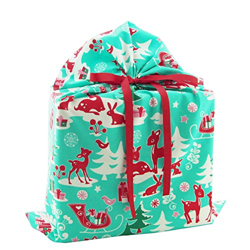 Christmas Critters Reusable Fabric Gift Bag -- Aqua Blue with Woodland Animals (Large 20.5 Inches Wide by 27 Inches High)
