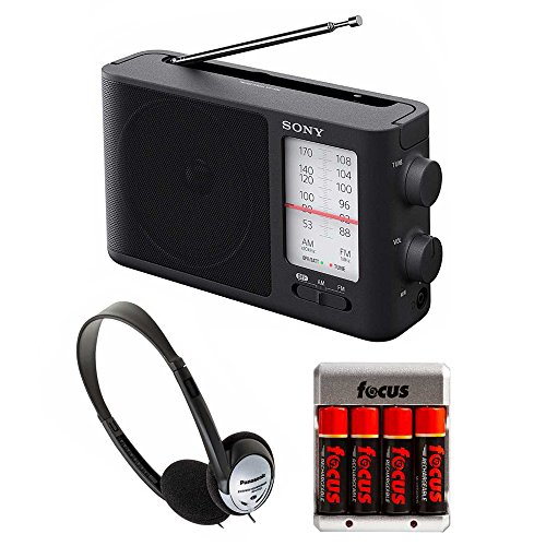 Sony ICF-506 Analog Tuning Portable FM/AM Radio w/ 4 Rechargeable NiMH AA Batteries with Charger & ()