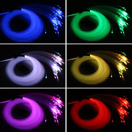 Car use DC12V 6W RGB LED Plastic Fiber Optic Star Ceiling Kit Light 100pcs 0.03in 6.5ft +18key Remote Optical Fiber Lights Engine by CHINLY (Image #5)