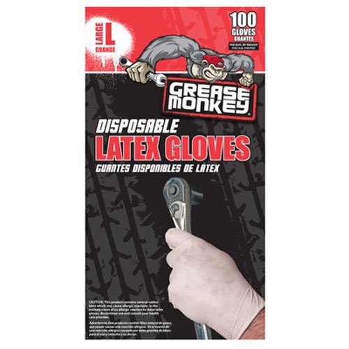 Big Time Products 23590 Grease Monkey Latex Disposable Glove (Large)- Pack of 100