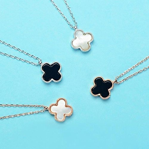 s925 Sterling Silver Four-Leaf Clover Necklace Pendant 18k Rose Gold Black Onyx Clavicle Chain-Sided Life (White-Sided Phnom Penh ()