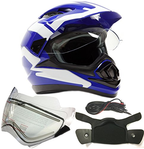 Dual Sport Snocross Snowmobile Helmet w/Electric Heated Shield - Blue - XL
