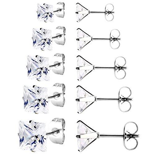 (JewelrieShop Women Stud Earrings Set Surgical Stainless Steel Cubic Zirconia Earrings Hypoallergenic Piercing Earrings for Men (5 Pairs, 3-7mm, White CZ, Silver))